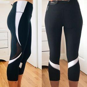 NWT RBX Black White Mesh Capri Activewear Leggings